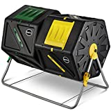 Miracle Grow Miracle-Gro Large Dual Chamber Compost Tumbler – Easy-Turn Fast-Working System – All-Season Heavy-Duty High Volume Composter with 2 Sliding Doors + FREE Scotts Gardening Gloves (2 – 27.7gal/105L)