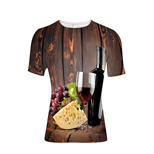 Devil Rays Wood - T-Shirt for Men,and Glass Cheese and Grapes on Wood Planks Print,3D Print
