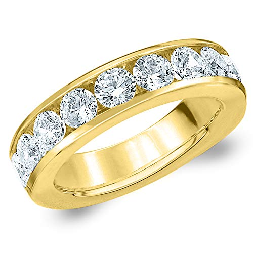 2 CT Classic Channel-Set Lab Grown Diamond Ring in 14K Yellow Gold, Sparkling in E-F Color and VS Clarity- Finger Size 10.5