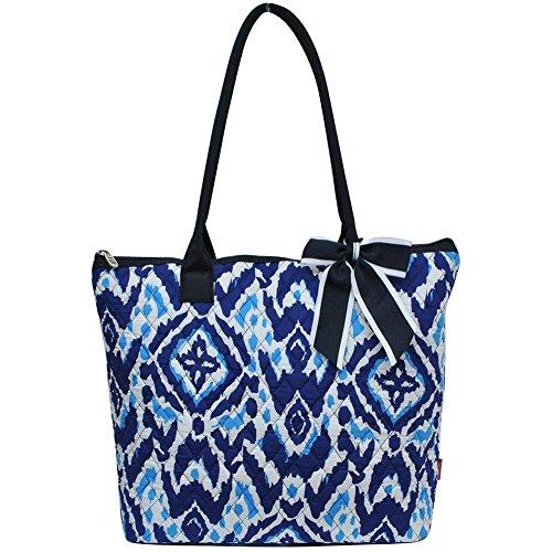 (Ngil Quilted Cotton Medium Tote Bag 3 (Blue Ikat Navy))