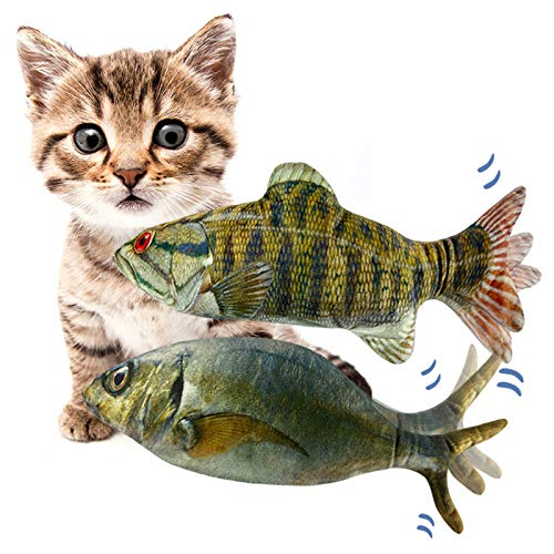 """11"""" Electric Moving Fish Cat Toys 2 Pack, Realistic Plush Simulation Electric Wagging Fish Cat Toy Catnip Kicker Toys…"""