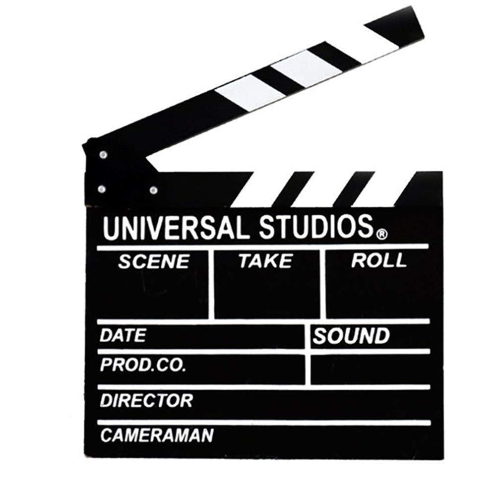 Movie Film Clap Board, Hollywood Clapper Board Wooden Director Board Film Movie Clapboard Accessory with Black & White, 12''x11'' by BigOtters