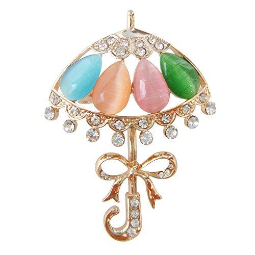 Navachi 18k Gold Plated Colorful Created-Opal Crystal Umbrella Az8032 Brooch pins 18k Ruby Brooch