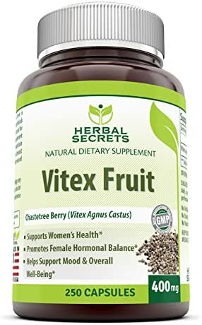 Herbal Secrets Vitex Fruit Chaste Tree Berry Dietary Supplement 400 Milligrams 250 Capsules (Non-GMO) - Supports Women's Health, Mood & Well-Being, Promotes Female Hormonal Balance*