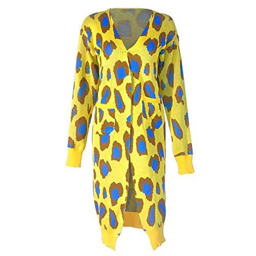 Yellow Imprimé Ample Un Cardigan Femme Puseky Pour Léopard Manteau Avec À Assorti qApTwAFxBP