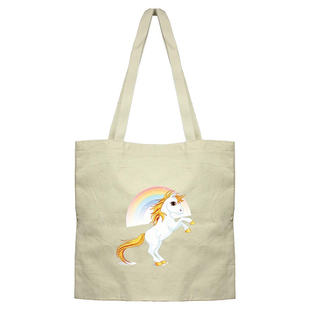 Unicorn And Rainbow Cotton Canvas Flat Market Tote Bag