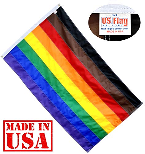 ' Philadelphia Philly Rainbow Flag (Sewn Stripes) Outdoor SolarMax Nylon (Grommets) - Gay Pride Lesbian LGBT - UV Fading Resistant - Premium Quality - Made in USA ()