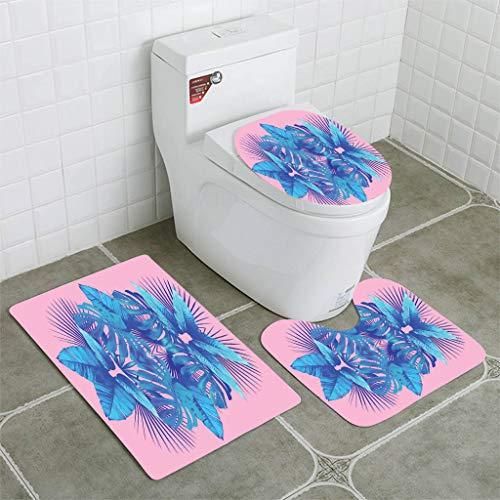 BEISISS Bathroom Mat Sets 4 Piece-Non-Slip - Short Plush Leaves Blue Mirror -
