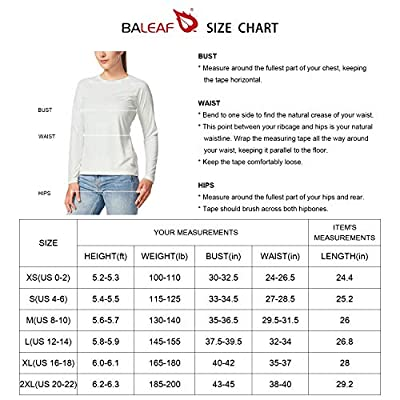 BALEAF Women's UPF 50+ Sun Protection T-Shirt SPF Long/Short Sleeve Outdoor Performance Hiking Shirt at Women's Clothing store