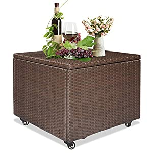 Outdoor Patio Wicker Storage Container Deck Box Made of Antirust Aluminum Frames and Resin Rattan (22.4″ L x 22.4″ W x 17.7″ H)