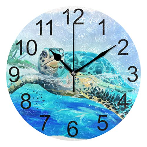 LUCASE LEMON ALEX Blue Ocean Sea Turtle Round Acrylic Wall Clock Non Ticking Silent Clocks for Home Decor Living Room Kitchen Bedroom Office School