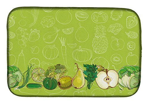 "Caroline's Treasures BB5135DDM Fruits and Vegetables in Green Dish Drying Mat 14"" x 21"" Multicolor from Caroline's Treasures"