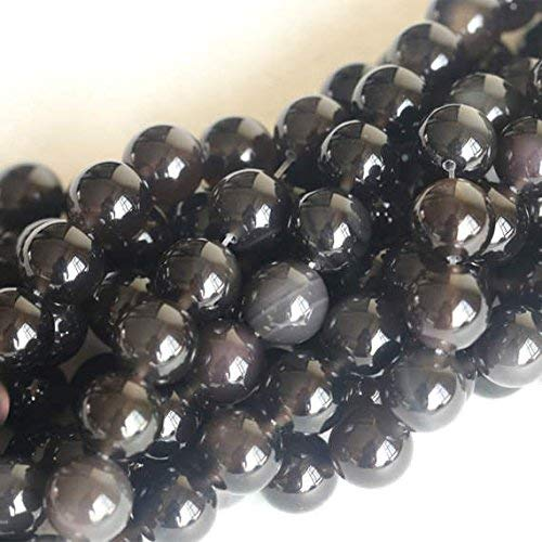 Rainbow Obsidian Round Beads, 8mm Beads, Black Beads, 15 Inch Strand by Gemswholesale