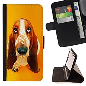 Basset Hound Drop Pendant Ear Dog - Painting Art Smile Face Style Design PU Leather Flip Stand Case Cover FOR Samsung Galaxy S3 Mini I8190Samsung Galaxy S3 Mini I8190 @ The Smurfs