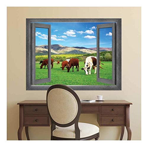 Open Window Creative Wall Decor - Cows Roaming in a Field - Wall Mural, Removable Sticker, Home Decor - 24x32 inches