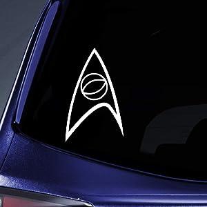 "Bargain Max Decals - Starfleet Science Insignia Sticker Decal Notebook Car Laptop 5"" (White)"