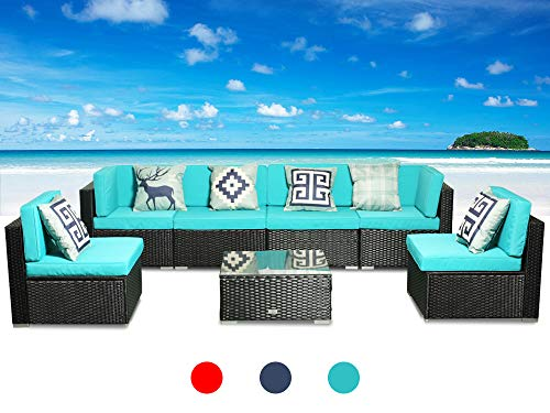 (Patio Conversation Sectional Sofa Chair - (7-Piece Set) All-Weather Black Wicker Rattan Seating Red Cushion Patio Modern Glass Coffee Table Outdoor Accend Pillow 300lb (7PC(6SEAT/Table) Green))