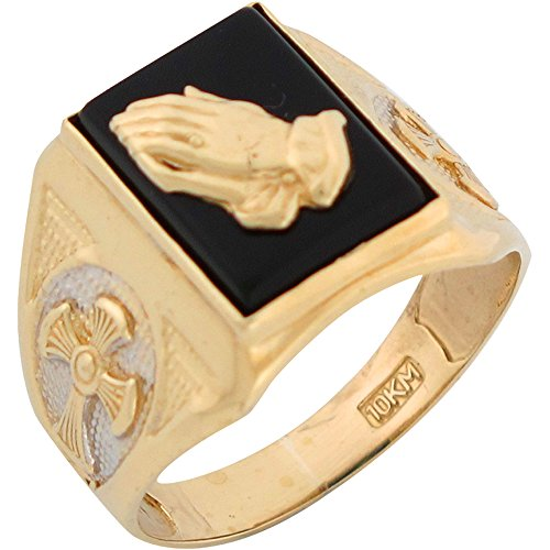 14k Two Tone Gold Onyx Religious Praying Hands and Crosses Mens Ring