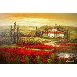 Real Hand Painted Italian Tuscany Red Poppy Field Canvas Oil Painting for Home Wall Art Decoration, Not a Print/ Giclee/ Poster