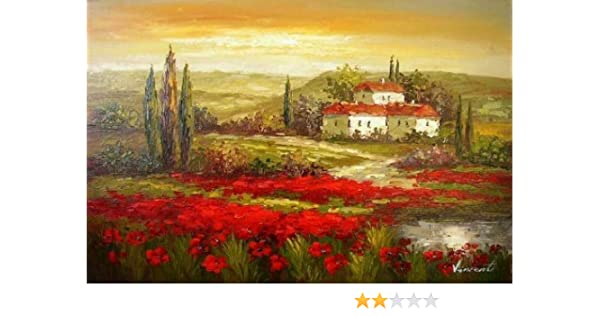 7292b230431 Amazon.com  Real Hand Painted Italian Tuscany Red Poppy Field Canvas Oil  Painting for Home Wall Art Decoration