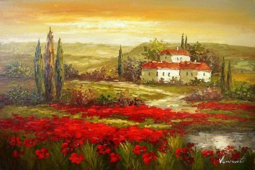 (Real Hand Painted Italian Tuscany Red Poppy Field Canvas Oil Painting for Home Wall Art Decoration, Not a Print/ Giclee/ Poster)
