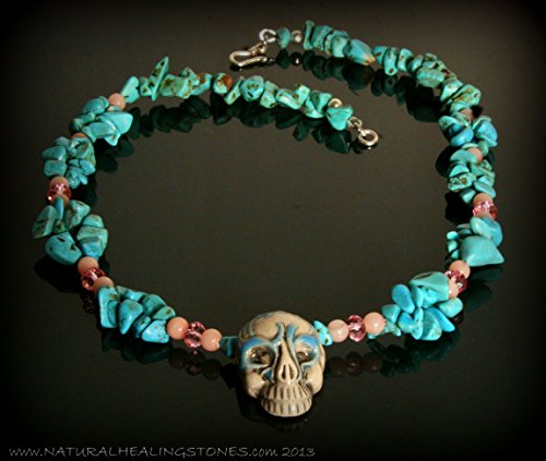Hill Tribe Silver Rose Pendant - Blue necklace. 17 inches of pink and blue coolness. Handmade pottery skull from Peru with rose quartz, turquoise and Swarovski crystals. Hill Tribe silver clasp.