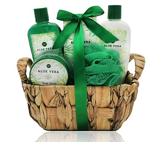 Badeset in Seegraskorb Aloe Vera mit Duschgel Bodylotion Badesalz Bodyscrub und Netzschwamm tolles Geschenkset Wellness Kosmetik