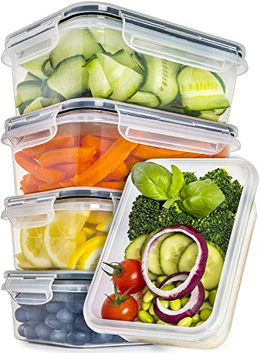 Food Storage Containers with Lids [5 Pack, 25 Ounce] - Food Containers with Lids Plastic Containers with Lids - Leak Proof Lunch Containers Plastic Storage Containers with Lids - Meal Prep Containers