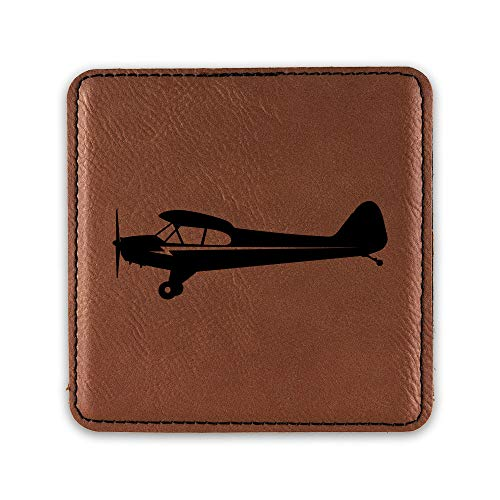 Side View Piper J3 Cub Airplane Drink Coaster Leatherette Coasters plane - Rawhide - One Coaster