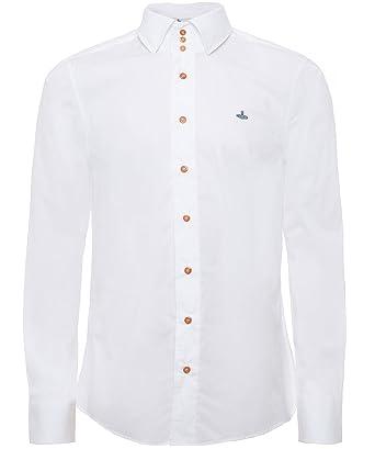 Vivienne Westwood Man Herren Baumwoll-Stretch-Krall-Shirt Weiß EU 50