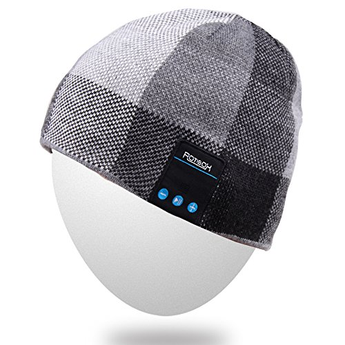 (Rotibox Men Women Wireless Bluetooth Beanie Hat Cap w/Stereo Speaker Headphones Mic Hands Free and Rechargeable Battery Compatible with Cell Phones iPhone iPad Tablets Android, Black)