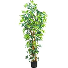 Nearly Natural 5188 Curved Bamboo Silk Tree, 6-Feet, Green