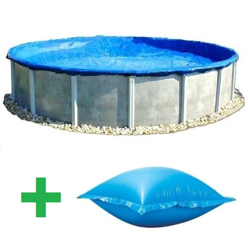 Economy - 18' Round Above Ground Pool Winter Cover w/ 4'x4' Pillow (Ground Economy Winter Covers)