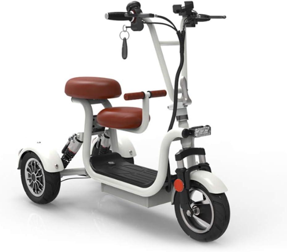 AA100 Triciclo Scooter Mini Viajes de Placer 48V13A de la batería de Litio 65 kilometros Vida eléctrica portátil para Damas/Ancianos discapacitados eléctrica de Tres Ruedas al Aire Libre,Blanco