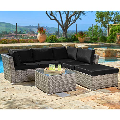 SUNCROWN Outdoor Furniture (4-Piece Set) All-Weather Sectional Sofa Grey Checkered Wicker w/Black Washable Cushions & Glass Coffee Table | Patio, Backyard, Pool | Waterproof Cover