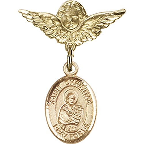 14kt Yellow Gold Baby Badge with St. Christian Demosthenes Charm and Angel w/Wings Badge Pin 1 X 3/4 inches by Bonyak Jewelry Saint Medal Collection