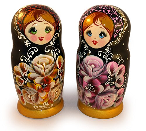 Vintage Nesting Dolls Matryoshka with Flowers - Unique Signed Nesting Dolls - Wooden Babushka Dolls of 5 pc set - Handmade Russian Gift - 6.5 inches Tall (Art Doll Sculpture)