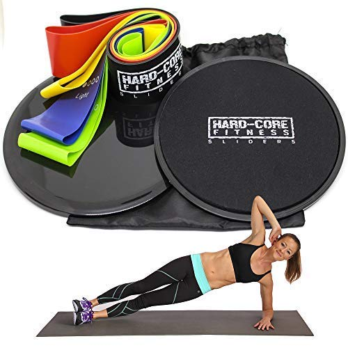Resistance Bands and Sliders for Fitness. Exercise Equipment for Abdominal Fitness and Full Body Workout. Strengthen, Tone, Lose Weight, Build Muscle with Hard- Core Sliders and Resistance Loops.