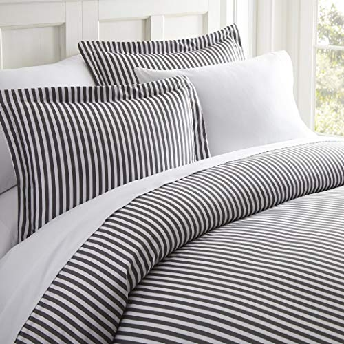 3 Piece White Grey Pinstripes Duvet Cover King Set, Vertical Stripes Bedding Stylish Striped Pattern Ribbon Design Dobby Stripe Line Graphic Artistic, Microfiber Polyester
