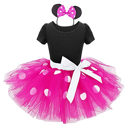 Girls Princess Minnie Polka Dots Birthday Tutu Dress Up Costume Leotard Ballet Gymnastic Skirt +Mouse Ear Clothes Set Hot Pink+Black(Big Dots) 2-3 -