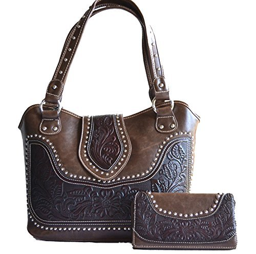 Ladies floral tooled leather tote shopper western studs purse wallet (Brown) - Double Entry Shopper