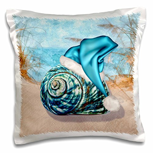 3dRose pc_203017_1 Coastal Beach Christmas Seashell Blue Santa Hat Pillow Case, 16