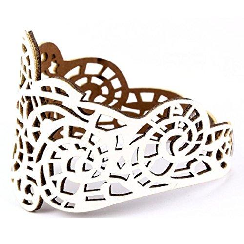 - Caopixx Cuff Bracelet, Vintage Women Punk Style Hollow Out Flower Wide Bangle Charm Bracelet (White, Artificial leather)