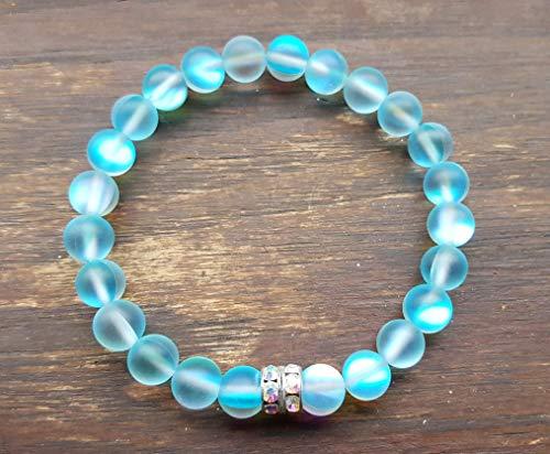 Aqua Beaded Stretch Bracelet - 7