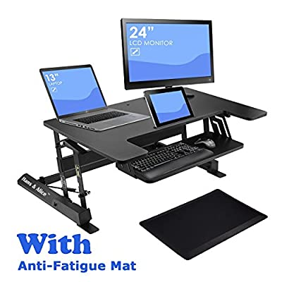 """36"""" Wide Height Adjustable Sit Stand Desk Riser Stand?Up Office Desk, Standing Desk Converter Workstation Dual Monitor, Included Spacious Keyboard Tray and Anti-Fatigue Mat"""