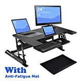 "Adjustable Height Sit Stand Desk, 36"" Wide Standing Desk Workstation, Included One Anti-Fatigue Mat, for Home/Office, Laptop/Computer, with Smartphone and Tablet Holder offers"
