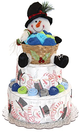 Snowman Diaper Cake / Great for Winter Baby Shower / Baby Gift for Holiday Season (Boy - Blue)