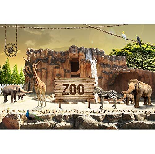 Leowefowa 5x3FT Vinyl Photography Backdrop Jungle Safari Animals Zoo Wildlife Giraffe Elephant Safari Birthday Background Event Party Decoration Portrait Photo Shoot Studio Photo Booth Props -