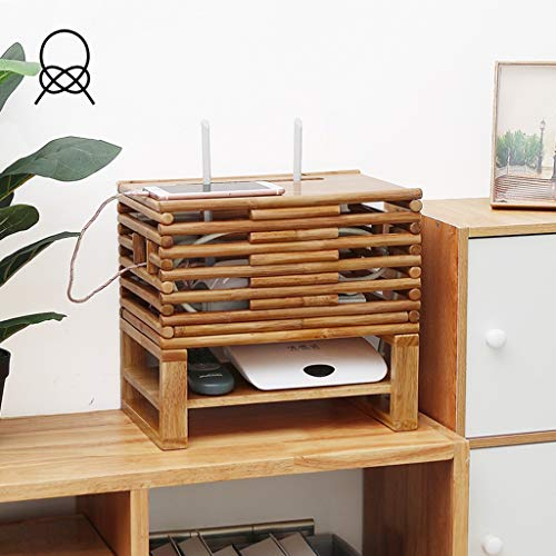 Rattan Media Shelf - Floating Shelf Multimedia TV Shelf Bracket Holder Stand for Socket Storage Box WiFi Router TV Box Set Top Box Speaker Streaming Device Game Console (Size : 32×21×29cm)