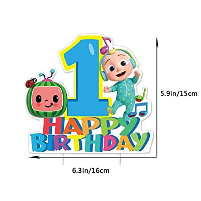 2nd Second Birthday Cake Cupcake Toppers Decoration for JJ Melon Theme Party Supplies Baby Shower Cocomelon Birthday Cake Topper Set